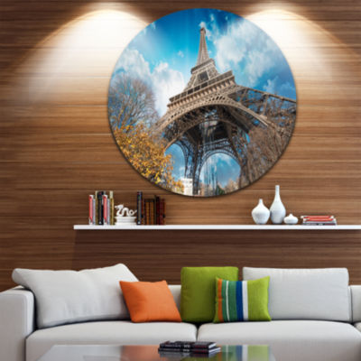 Design Art Paris Paris Eiffel Towerand Blue ParisSky View Ultra Glossy Cityscape Circle Wall Art