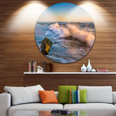 Design Art Crashing Waves at Victoria Beach Seascape Metal Circle Wall Art