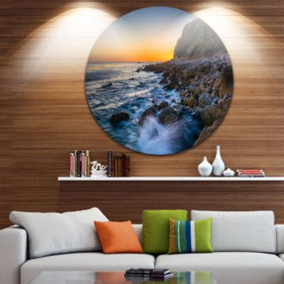 Design Art Crashing Waves at Pelican Cove SeascapeMetal Circle Wall Art