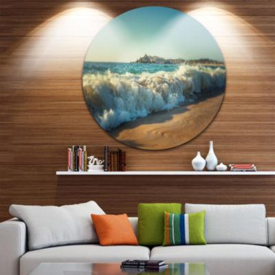 Design Art Stormy Waves Hitting Beach Sand Beach Metal Circle Wall Art