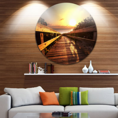 Design Art Wooden Boardwalk on Beach Sea Bridge Metal Circle Wall Art