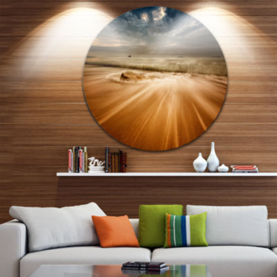 Design Art Stormy Sea with Waves Flowing Out BeachPhoto Metal Circle Wall Art