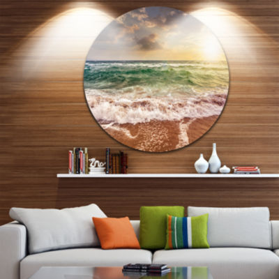 Design Art Sandy Beach Washed By Waves Seascape Metal Circle Wall Art