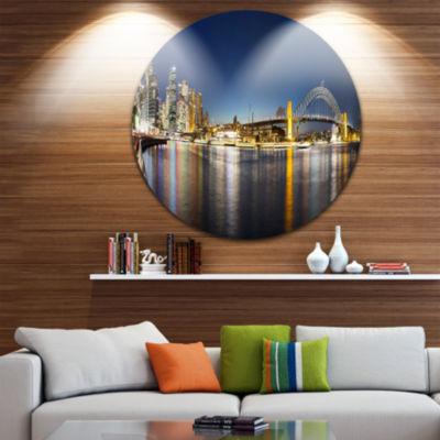Design Art Cityscape Sydney Nightfall Panorama Ultra Glossy Cityscape Circle Wall Art