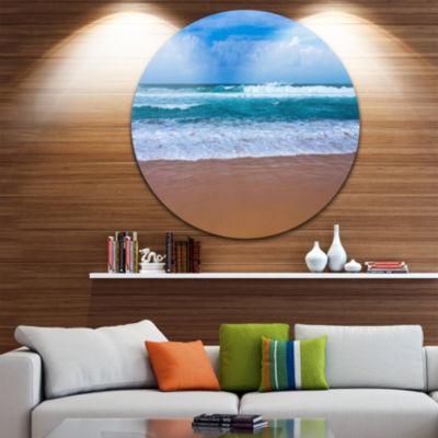 Design Art Fascinating Atlantic Beach in PortugalSeascape Metal Circle Wall Art