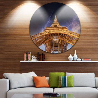 Design Art Storm above Paris Paris Eiffel TowerinParis Ultra Glossy Cityscape Circle Wall Art