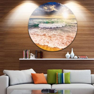 Design Art Roaring Sea Waves and Bright Sun Seascape Metal Circle Wall Art