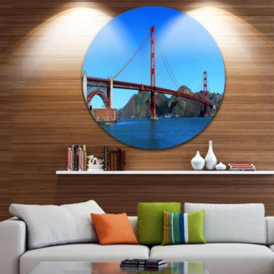 Design Art Golden Gate Bridge under Blue Sky UltraGlossy Cityscape Circle Wall Art