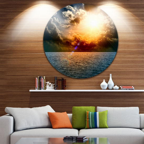 Design Art Yellow Sunset in the Middle of Ocean Beach Photo Metal Circle Wall Art