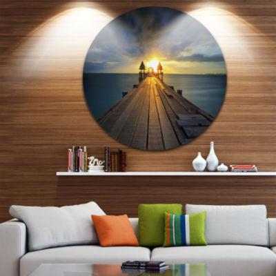 Design Art Illuminated Wooden Bridge in Sunlight Pier Seascape Metal Circle Wall Art