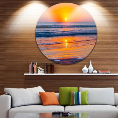 Design Art Sandy Sea Beach in Early Morning LargeSeashore Metal Circle Wall Art