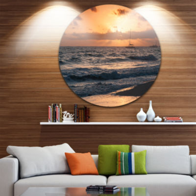 Design Art Colorful Sunrise over Atlantic Ocean Beach Photo Metal Circle Wall Art