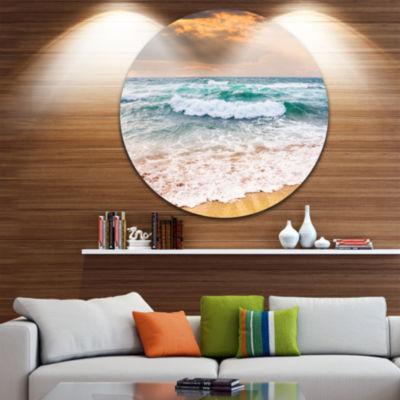 Design Art Blue Sea Waves Kissing Sandy Beach Seascape Metal Circle Wall Art