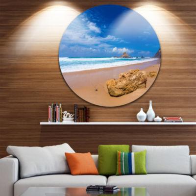 Design Art Huge Brown Rock in Atlantic Seashore Seascape Metal Circle Wall Art
