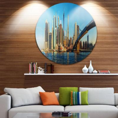 Design Art New York City with Brooklyn Bridge Ultra Glossy Cityscape Circle Wall Art