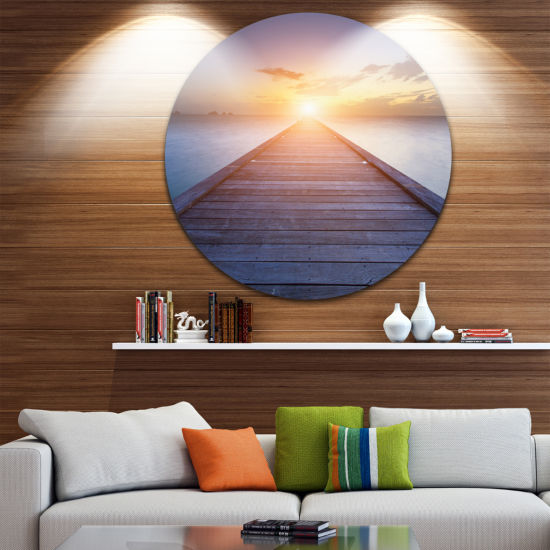Design Art Wooden Pier to Bright Evening Sun Sea Bridge Metal Circle Wall Art