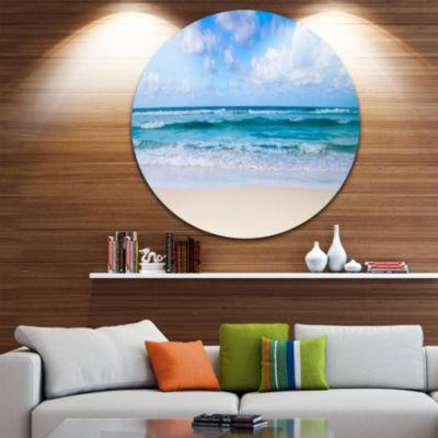 Design Art Serene Blue Tropical Beach Large Seashore Metal Circle Wall Art