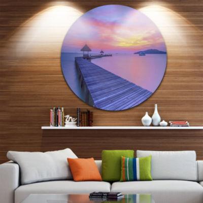 Design Art Long Wooden Bridge into the Sunset PierSeascape Metal Circle Wall Art