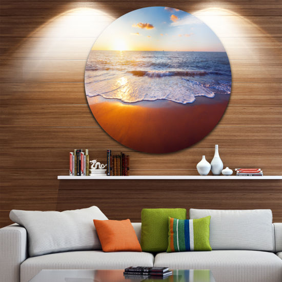 Design Art Stunning Blue Waves and Brown Sand Beach Photo Metal Circle Wall Art