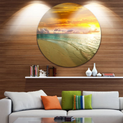 Design Art Amazingly Colorful Beach with Footprints Seascape Metal Circle Wall Art