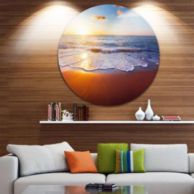 Design Art Stunning Blue Waves and Brown Sand Beach Photo Metal Circle Wall Art
