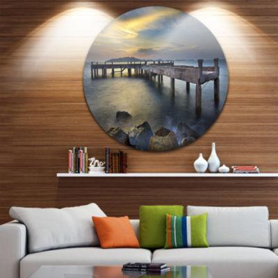 Design Art Old Wood Boat Jetty into Blue Sea Sea Bridge Metal Circle Wall Art