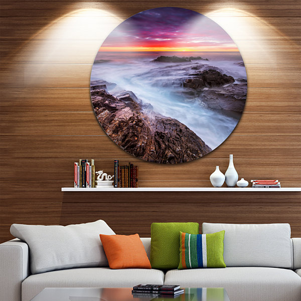 Design Art Stormy Seashore with Colorful Sky BeachPhoto Metal Circle Wall Art