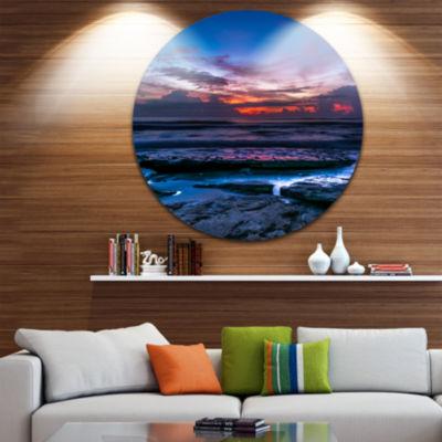 Design Art Exotic Dark Blue Coquina Dawn Beach Photo Metal Circle Wall Art