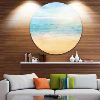Design Art Golden Sand with Blue Sea Waters BeachPhoto Metal Circle Wall Art