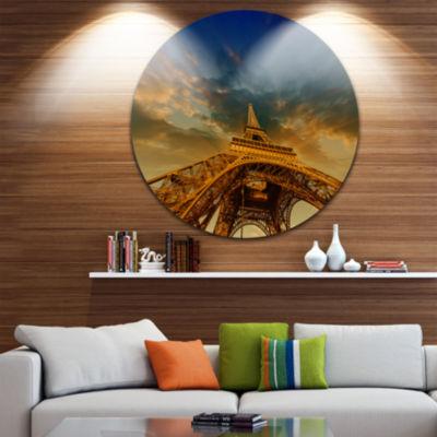 Design Art Dramatic Sky above Paris Paris Eiffel Towerin Paris Ultra Glossy Cityscape Circle Wall Art