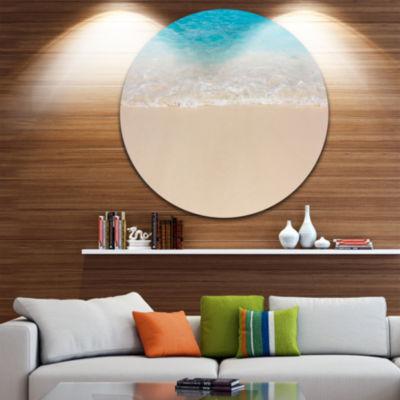 Design Art Serene White and Blue Waters Large Seashore Metal Circle Wall Art