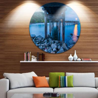 Design Art Under Wood Bridge at Twilight Sea Bridge Metal Circle Wall Art