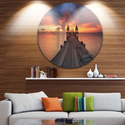 Design Art Glowing Sky and Long Wooden Bridge PierSeascape Metal Circle Wall Art