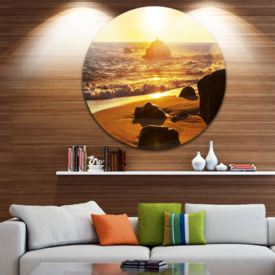 Design Art Glowing Waters of Seashore Beach MetalCircle Wall Art