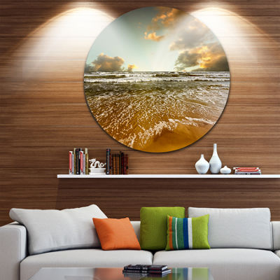 Design Art Brown Tinged Beach and Cloudy Sky Seascape Metal Circle Wall Art