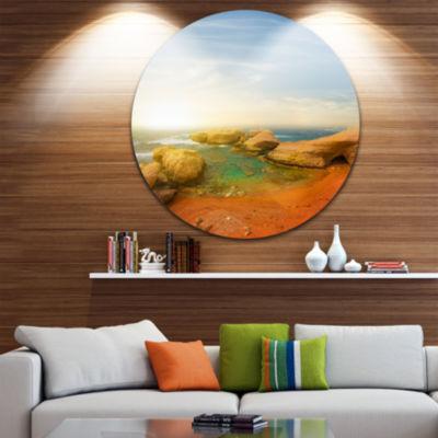 Design Art Rocky Red Beach and Blue Sky Large Seashore Metal Circle Wall Art