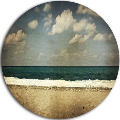 Design Art Vintage Beach with Heavy Clouds Large Seashore Metal Circle Wall Art