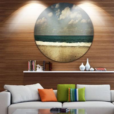 Design Art Vintage Beach with Heavy Clouds Large Seashore Metal Circle Wall Art