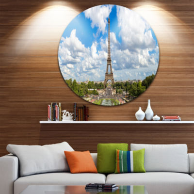 Design Art Panoramic Paris Paris Eiffel TowerunderClouds Ultra Glossy Cityscape Circle Wall Art