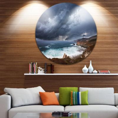 Design Art Heavy Blue Clouds and Waves Beach MetalCircle Wall Art