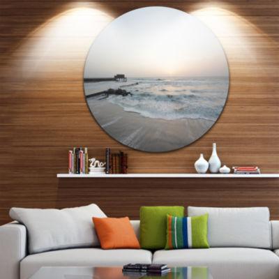 Design Art Serene Blue Beach with White Sun BeachMetal Circle Wall Art