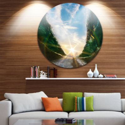 Design Art Sandy Path to the Sun in Parted Sea Seascape Metal Circle Wall Art