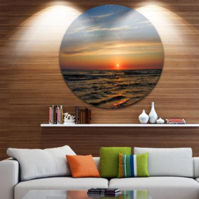 Design Art Red Sunset with Dark Ocean Waves Seascape Metal Circle Wall Art