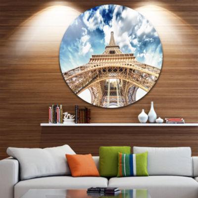 Design Art Beautiful view of Paris Paris Eiffel Towerunder Clouds Ultra Glossy Cityscape Circle WallArt