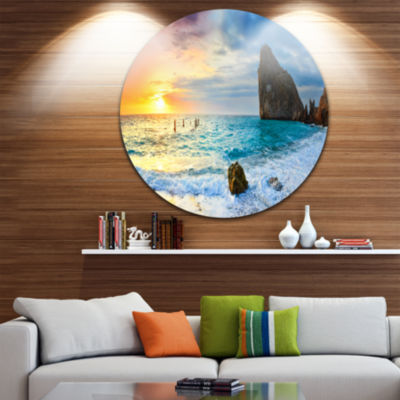 Design Art Vibrant Morning Sea with Yellow Sun Seascape Metal Circle Wall Art