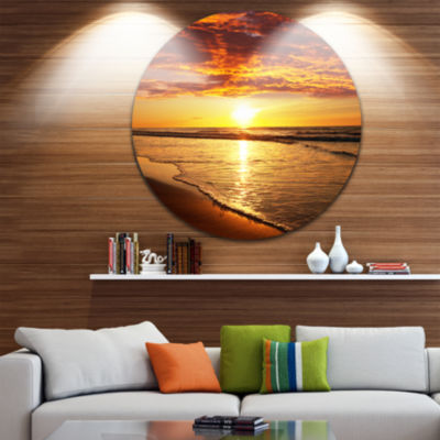 Design Art Vibrant Yellow Sun and Calm Waves Seascape Metal Circle Wall Art