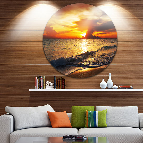 Design Art Colorful Dramatic Sunset over Waves Beach Metal Circle Wall Art