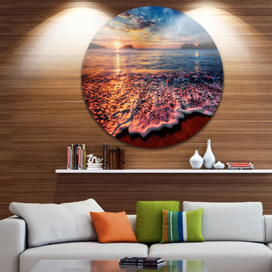 Design Art Peaceful Evening Beach View Seascape Metal Circle Wall Art