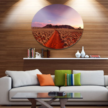 Designart Red Pathway in Namib DesertExtra LargeLandscape Metal Circle Wall Art