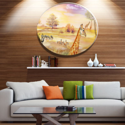Designart Wildlife of Savannah IllustrationAfricanMetal Circle Wall Art